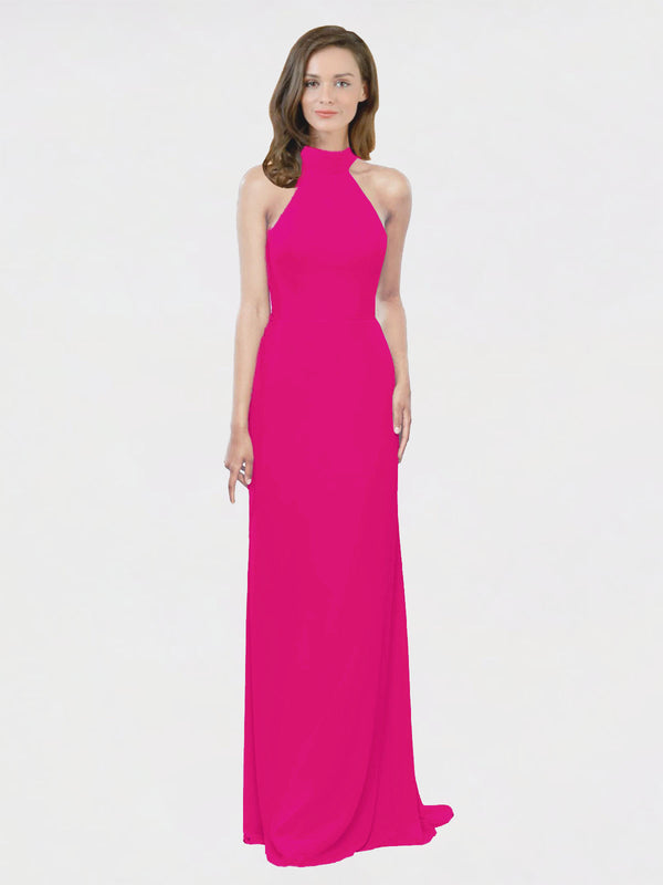 Mila Queen Stephany Bridesmaid Dress Fuchsia - A-Line High Neck Halter Long Bridesmaid Gown Stephany in Fuchsia