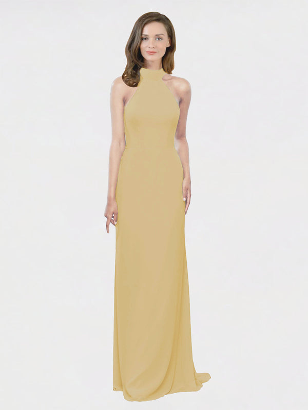 Mila Queen Stephany Bridesmaid Dress Gold - A-Line High Neck Halter Long Bridesmaid Gown Stephany in Gold