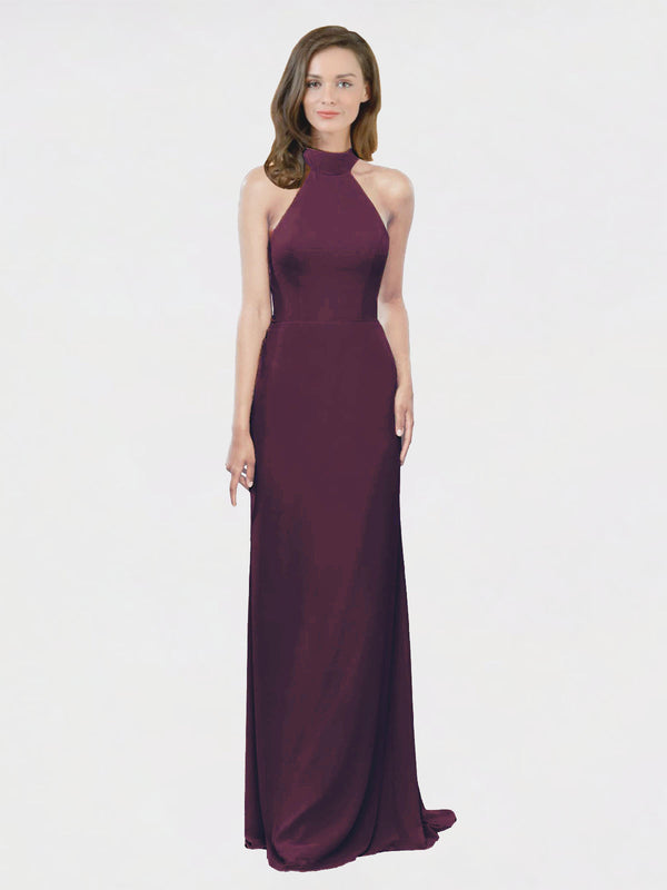 Mila Queen Stephany Bridesmaid Dress Grape - A-Line High Neck Halter Long Bridesmaid Gown Stephany in Grape