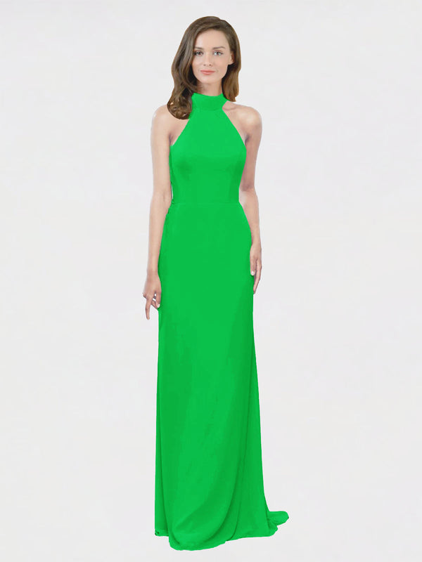 Mila Queen Stephany Bridesmaid Dress Green - A-Line High Neck Halter Long Bridesmaid Gown Stephany in Green
