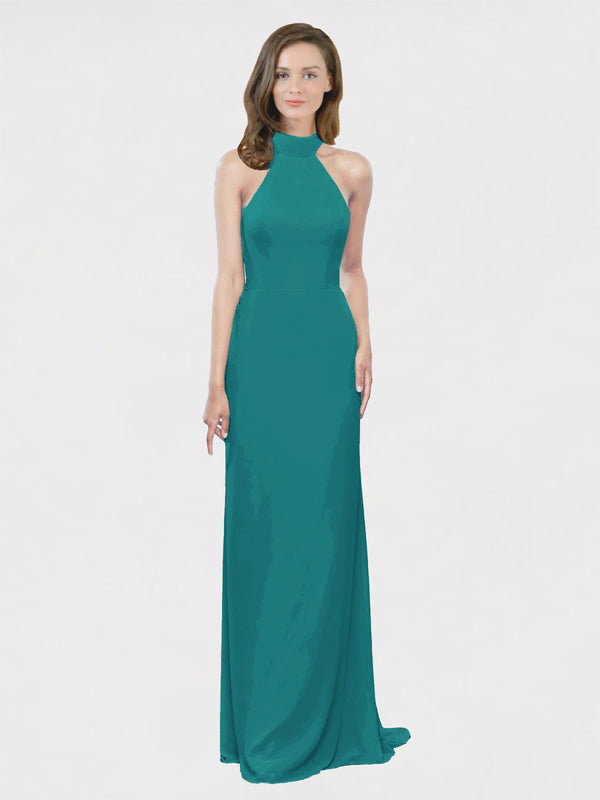 Mila Queen Stephany Bridesmaid Dress Hunter - A-Line High Neck Halter Long Bridesmaid Gown Stephany in Hunter