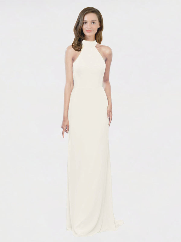 Mila Queen Stephany Bridesmaid Dress Ivory - A-Line High Neck Halter Long Bridesmaid Gown Stephany in Ivory