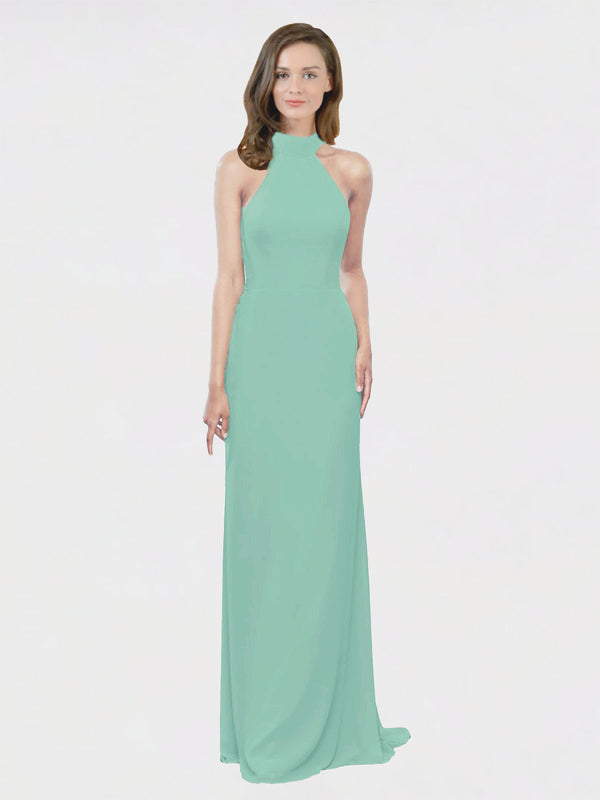Mila Queen Stephany Bridesmaid Dress Jade - A-Line High Neck Halter Long Bridesmaid Gown Stephany in Jade