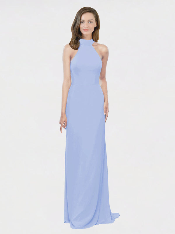 Mila Queen Stephany Bridesmaid Dress Lavender - A-Line High Neck Halter Long Bridesmaid Gown Stephany in Lavender