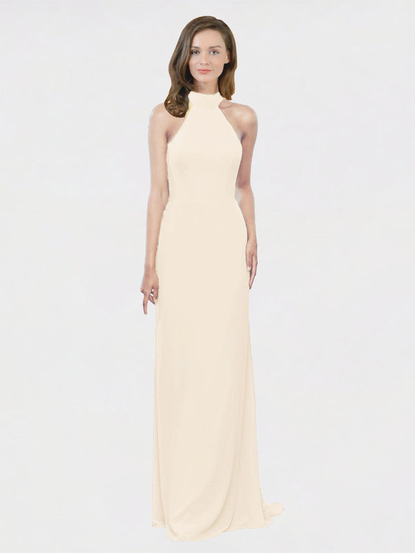 Mila Queen Stephany Bridesmaid Dress Light Champagne - A-Line High Neck Halter Long Bridesmaid Gown Stephany in Light Champagne