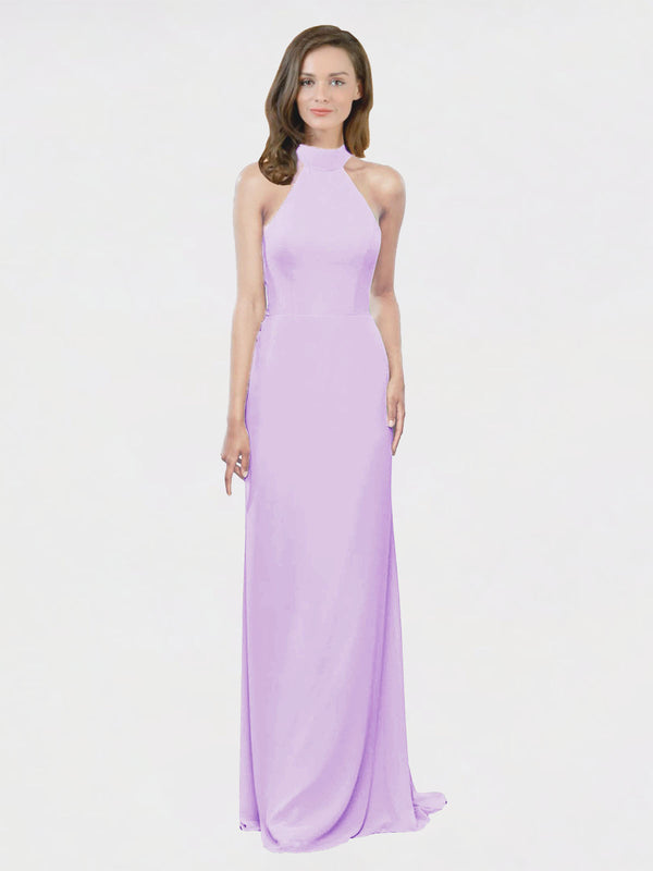 Mila Queen Stephany Bridesmaid Dress Lilac - A-Line High Neck Halter Long Bridesmaid Gown Stephany in Lilac