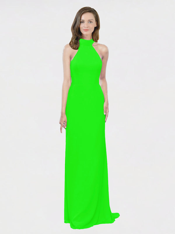 Mila Queen Stephany Bridesmaid Dress Lime Green - A-Line High Neck Halter Long Bridesmaid Gown Stephany in Lime Green