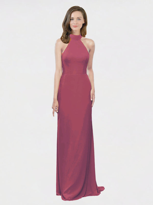 Mila Queen Stephany Bridesmaid Dress Mauve Taupe - A-Line High Neck Halter Long Bridesmaid Gown Stephany in Mauve Taupe