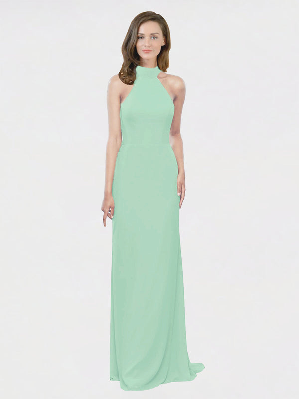 Mila Queen Stephany Bridesmaid Dress Mint Green - A-Line High Neck Halter Long Bridesmaid Gown Stephany in Mint Green