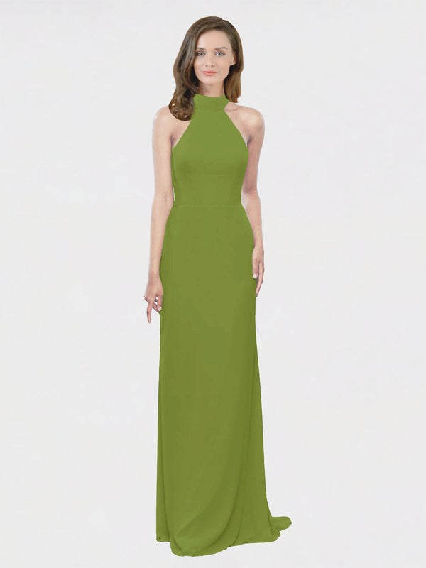 Mila Queen Stephany Bridesmaid Dress Olive Green - A-Line High Neck Halter Long Bridesmaid Gown Stephany in Olive Green