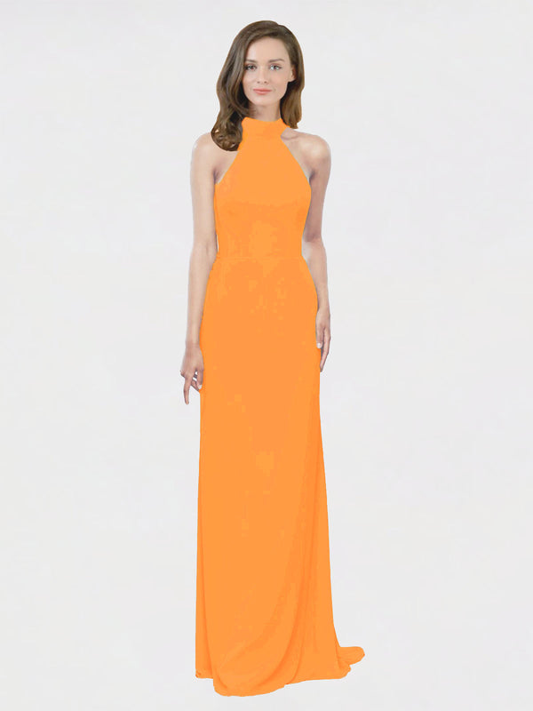 Mila Queen Stephany Bridesmaid Dress Orange - A-Line High Neck Halter Long Bridesmaid Gown Stephany in Orange