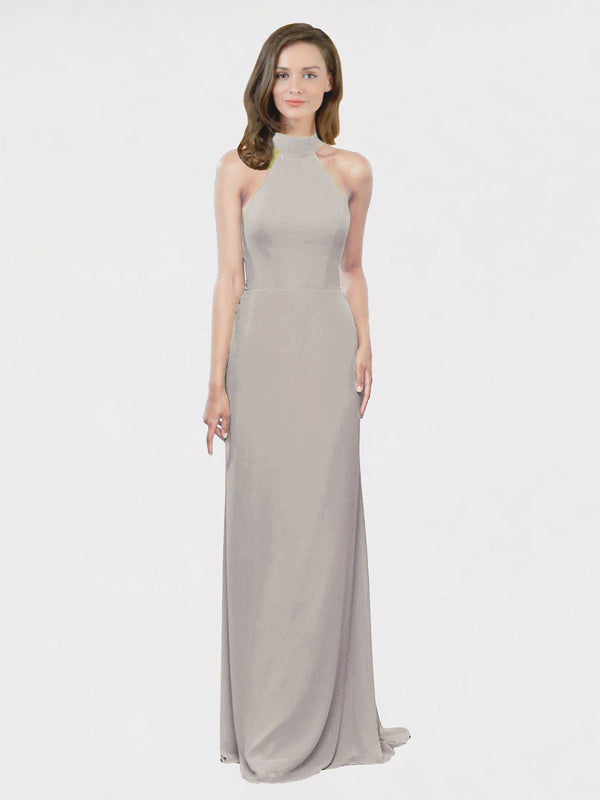Mila Queen Stephany Bridesmaid Dress Oyster Silver - A-Line High Neck Halter Long Bridesmaid Gown Stephany in Oyster Silver
