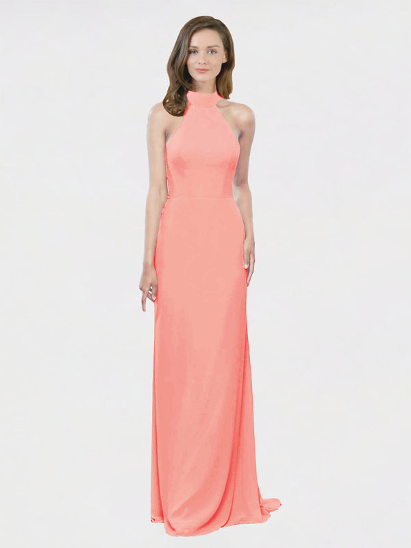 Mila Queen Stephany Bridesmaid Dress Peach - A-Line High Neck Halter Long Bridesmaid Gown Stephany in Peach