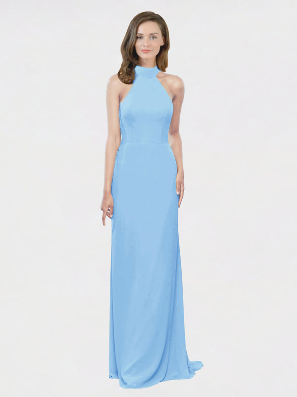 Mila Queen Stephany Bridesmaid Dress Periwinkle - A-Line High Neck Halter Long Bridesmaid Gown Stephany in Periwinkle