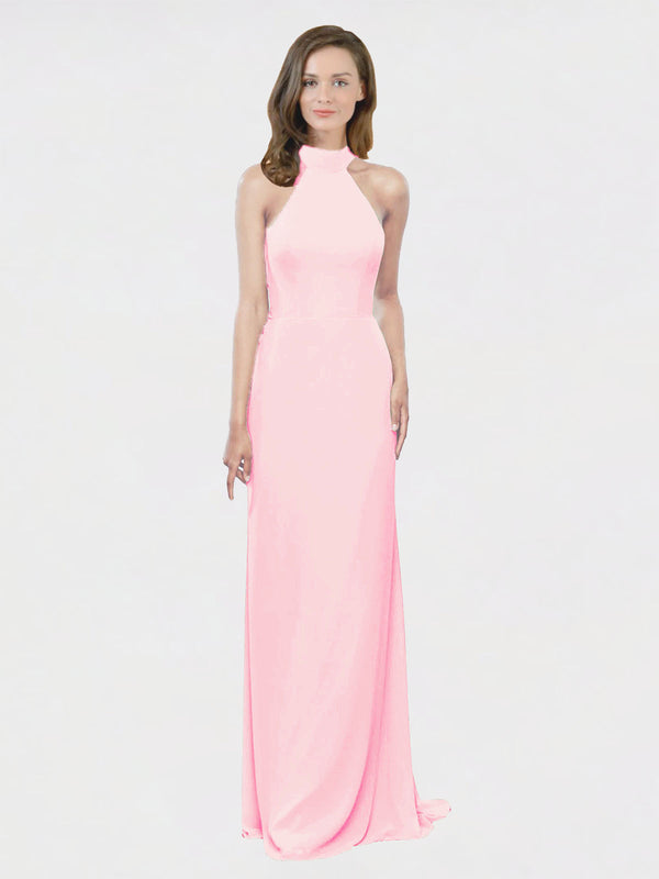 Mila Queen Stephany Bridesmaid Dress Pink - A-Line High Neck Halter Long Bridesmaid Gown Stephany in Pink