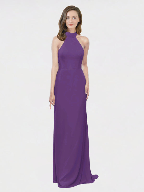Mila Queen Stephany Bridesmaid Dress Plum Purple - A-Line High Neck Halter Long Bridesmaid Gown Stephany in Plum Purple