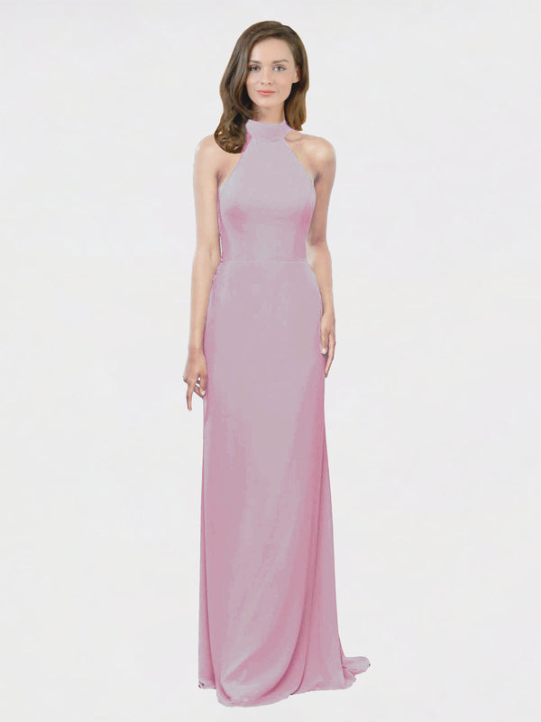 Mila Queen Stephany Bridesmaid Dress Primrose - A-Line High Neck Halter Long Bridesmaid Gown Stephany in Primrose