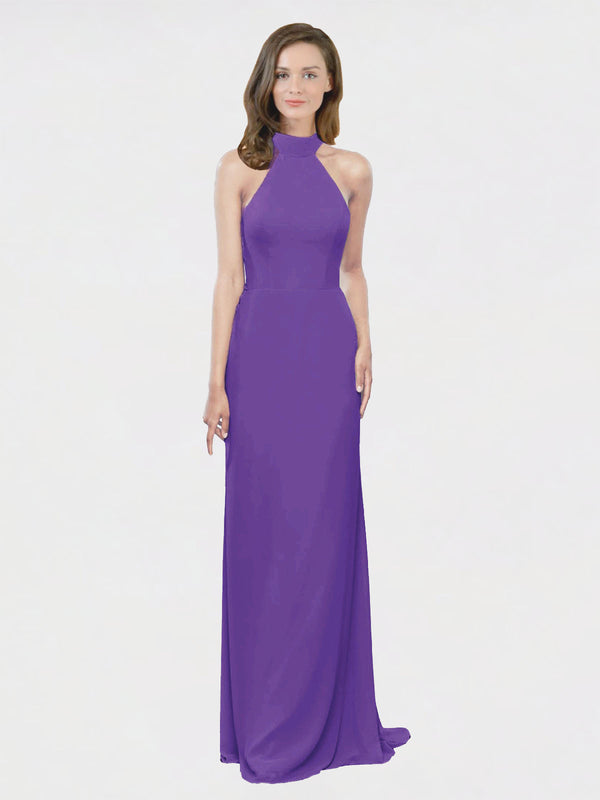 Mila Queen Stephany Bridesmaid Dress Purple - A-Line High Neck Halter Long Bridesmaid Gown Stephany in Purple