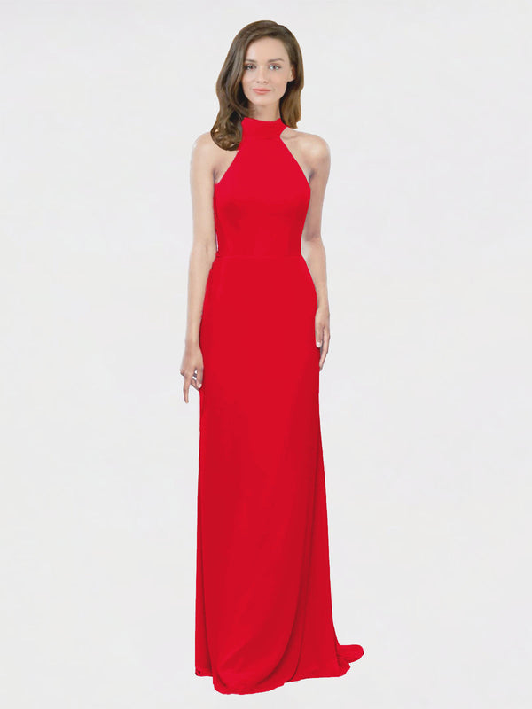 Mila Queen Stephany Bridesmaid Dress Red - A-Line High Neck Halter Long Bridesmaid Gown Stephany in Red