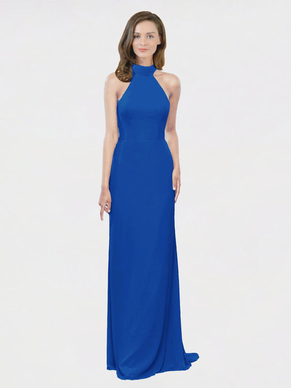 Mila Queen Stephany Bridesmaid Dress Royal Blue - A-Line High Neck Halter Long Bridesmaid Gown Stephany in Royal Blue