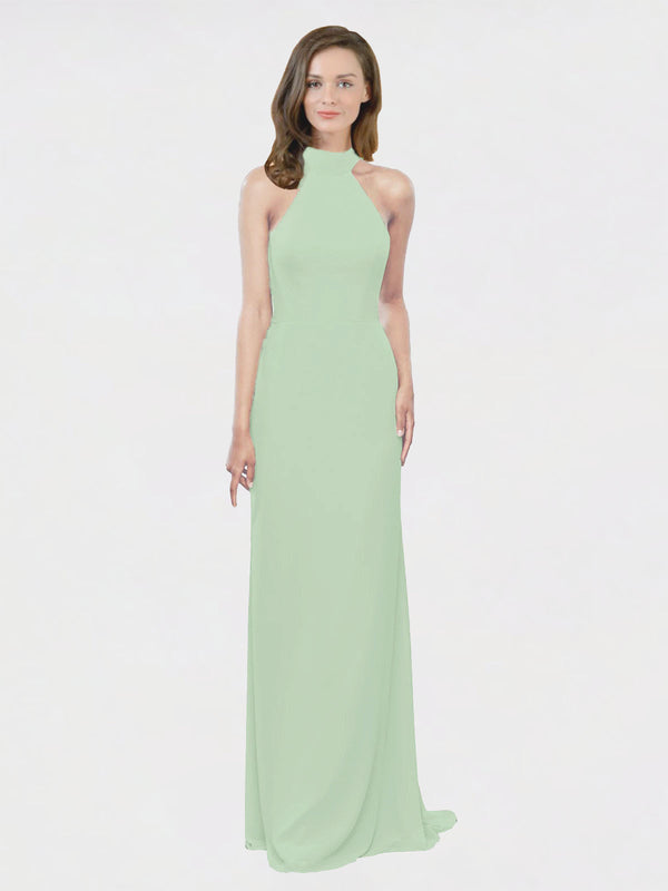 Mila Queen Stephany Bridesmaid Dress Sage - A-Line High Neck Halter Long Bridesmaid Gown Stephany in Sage