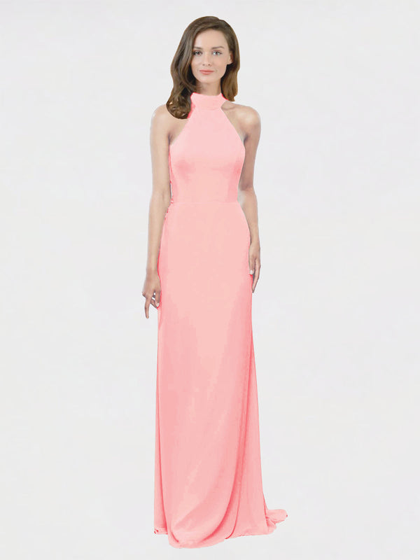 Mila Queen Stephany Bridesmaid Dress Salmon - A-Line High Neck Halter Long Bridesmaid Gown Stephany in Salmon