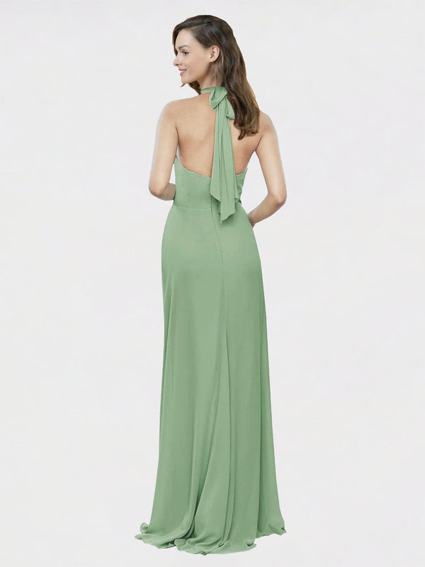 Mila Queen Stephany Bridesmaid Dress in Seagrass - A-Line High Neck Halter Long Bridesmaid Gown Stephany in Seagrass