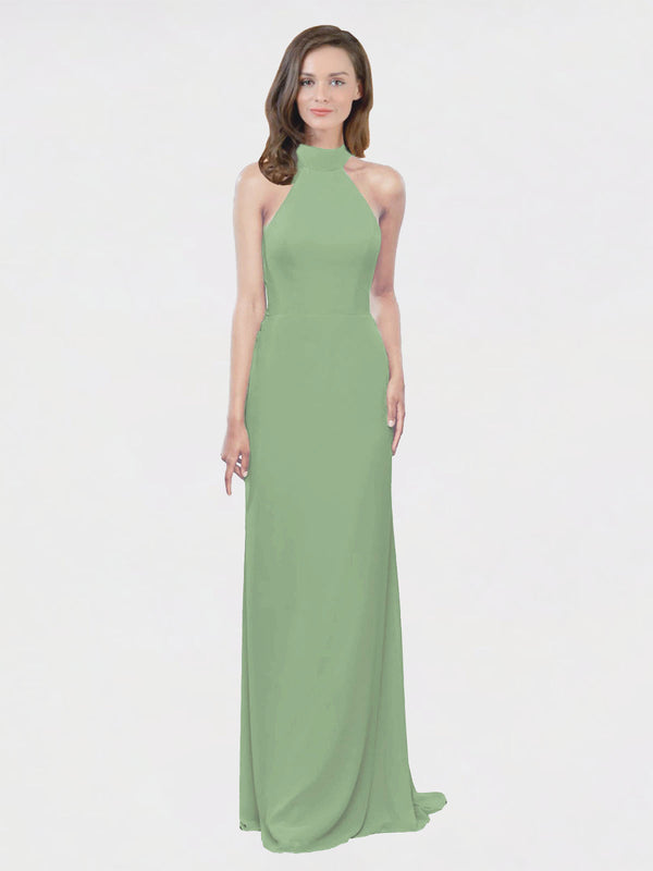 Mila Queen Stephany Bridesmaid Dress Seagrass - A-Line High Neck Halter Long Bridesmaid Gown Stephany in Seagrass