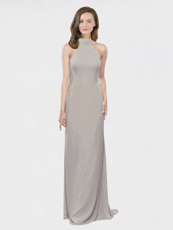 Mila Queen Stephany Bridesmaid Dress Silver - A-Line High Neck Halter Long Bridesmaid Gown Stephany in Silver