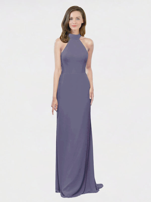 Mila Queen Stephany Bridesmaid Dress Silver Stone - A-Line High Neck Halter Long Bridesmaid Gown Stephany in Silver Stone