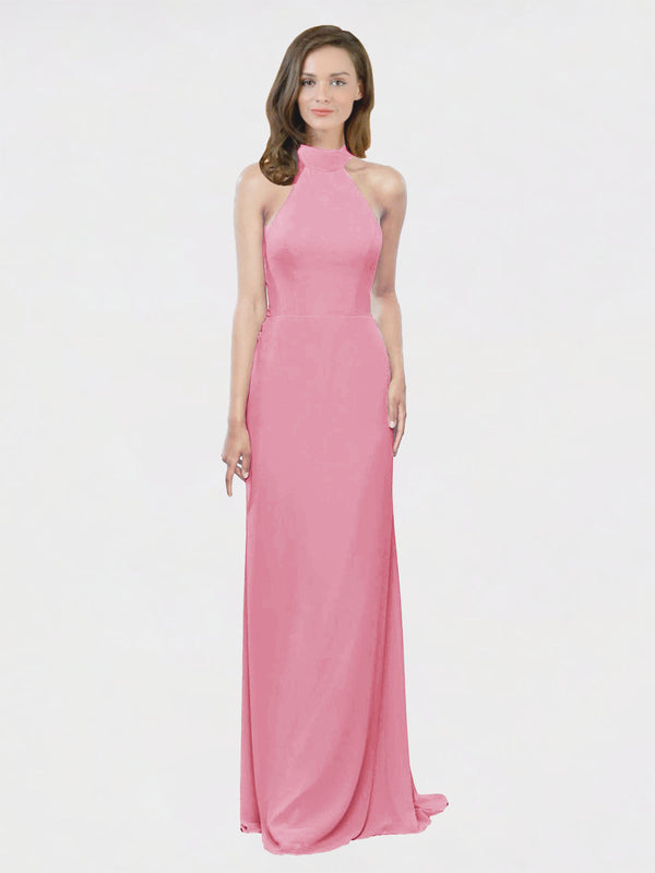 Mila Queen Stephany Bridesmaid Dress Skin Pink - A-Line High Neck Halter Long Bridesmaid Gown Stephany in Skin Pink