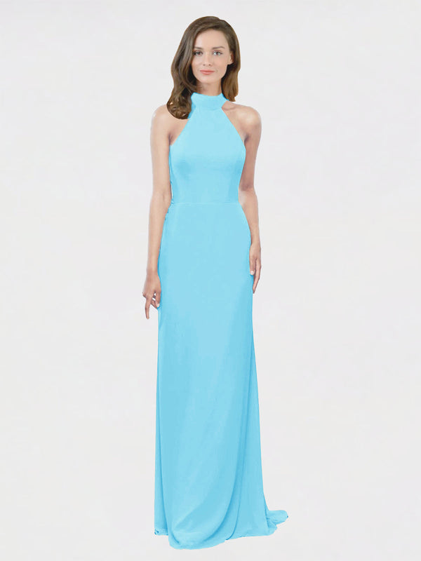 Mila Queen Stephany Bridesmaid Dress Sky Blue - A-Line High Neck Halter Long Bridesmaid Gown Stephany in Sky Blue