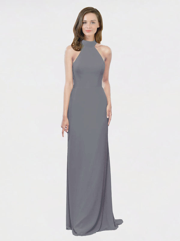 Mila Queen Stephany Bridesmaid Dress Slate Grey - A-Line High Neck Halter Long Bridesmaid Gown Stephany in Slate Grey