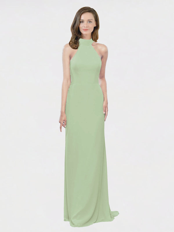 Mila Queen Stephany Bridesmaid Dress Smoke Green - A-Line High Neck Halter Long Bridesmaid Gown Stephany in Smoke Green