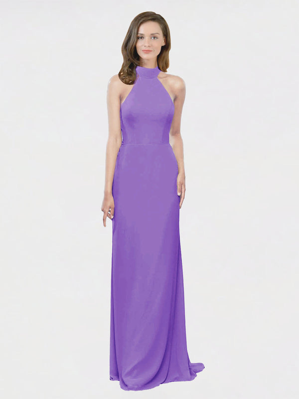 Mila Queen Stephany Bridesmaid Dress Tahiti - A-Line High Neck Halter Long Bridesmaid Gown Stephany in Tahiti