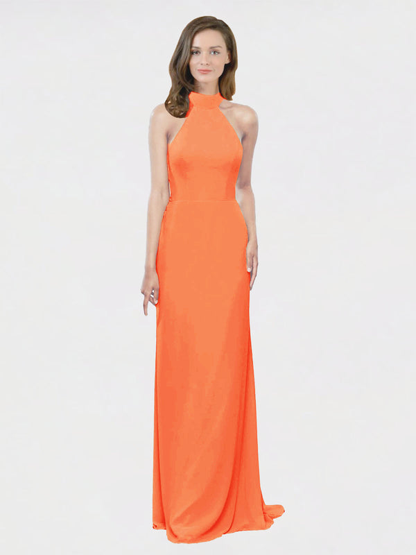 Mila Queen Stephany Bridesmaid Dress Tangerine Tango - A-Line High Neck Halter Long Bridesmaid Gown Stephany in Tangerine Tango
