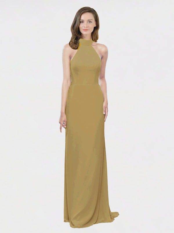 Mila Queen Stephany Bridesmaid Dress Topaz - A-Line High Neck Halter Long Bridesmaid Gown Stephany in Topaz
