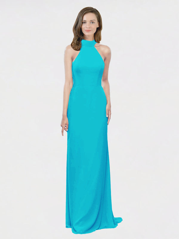 Mila Queen Stephany Bridesmaid Dress Turquoise - A-Line High Neck Halter Long Bridesmaid Gown Stephany in Turquoise