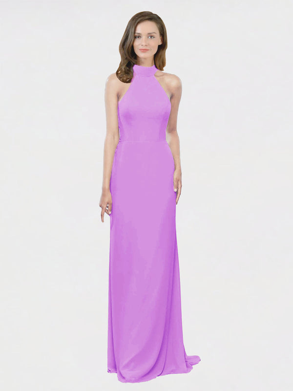 Mila Queen Stephany Bridesmaid Dress Violet - A-Line High Neck Halter Long Bridesmaid Gown Stephany in Violet