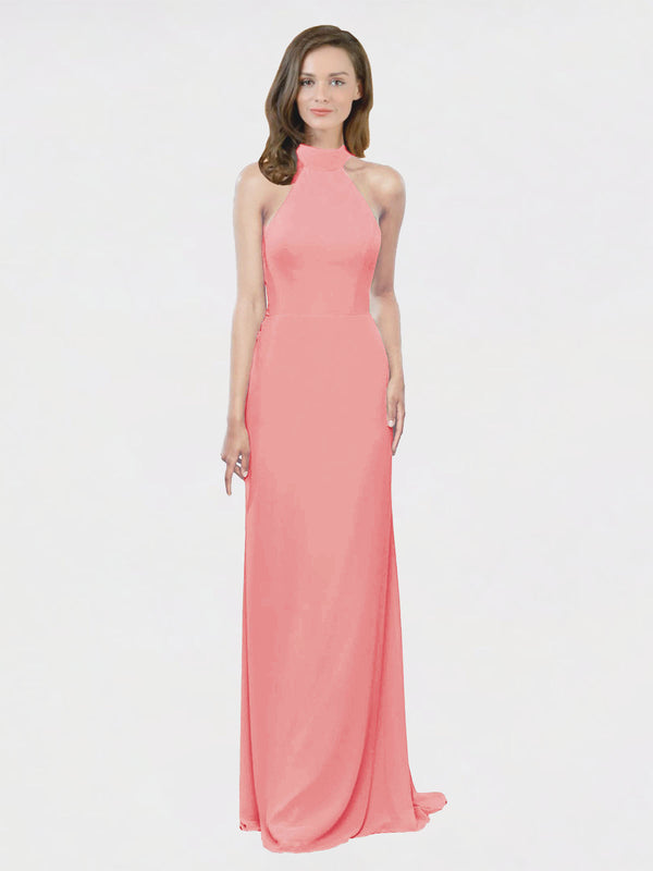 Mila Queen Stephany Bridesmaid Dress Watermelon - A-Line High Neck Halter Long Bridesmaid Gown Stephany in Watermelon