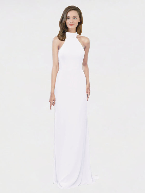 Mila Queen Stephany Bridesmaid Dress White - A-Line High Neck Halter Long Bridesmaid Gown Stephany in White