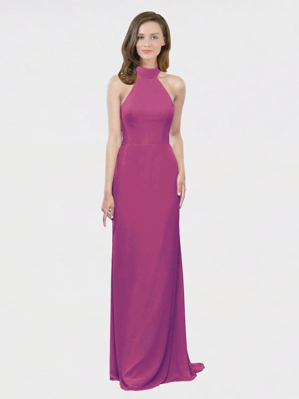 Mila Queen Stephany Bridesmaid Dress Wild Berry - A-Line High Neck Halter Long Bridesmaid Gown Stephany in Wild Berry
