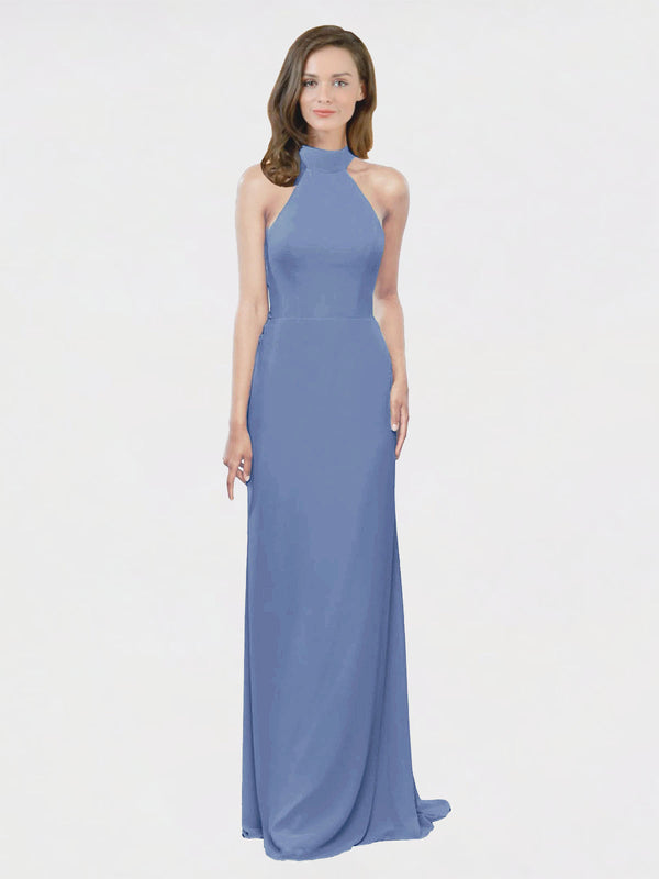 Mila Queen Stephany Bridesmaid Dress Windsor Blue - A-Line High Neck Halter Long Bridesmaid Gown Stephany in Windsor Blue