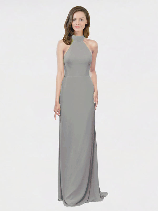 Mila Queen Stephany Bridesmaid Dress Wisteria - A-Line High Neck Halter Long Bridesmaid Gown Stephany in Wisteria
