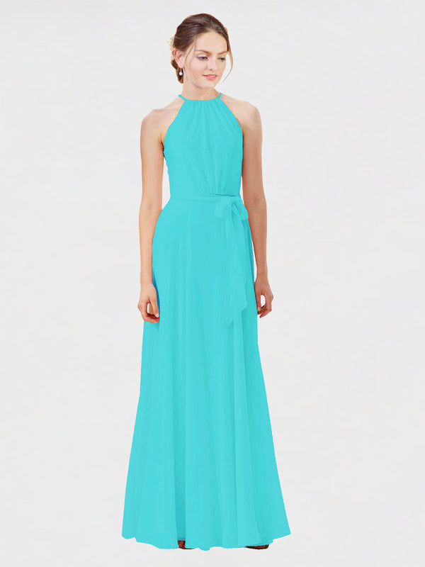 Mila Queen Kendal Bridesmaid Dress Aqua - A-Line High Neck Bateau Long Bridesmaid Gown Kendal in Aqua