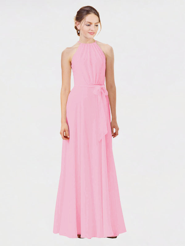 Mila Queen Kendal Bridesmaid Dress Barely Pink - A-Line High Neck Bateau Long Bridesmaid Gown Kendal in Barely Pink