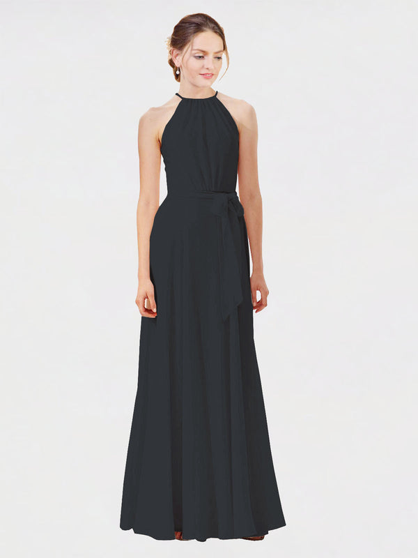 Mila Queen Kendal Bridesmaid Dress Black - A-Line High Neck Bateau Long Bridesmaid Gown Kendal in Black