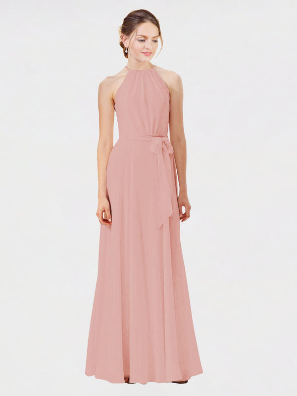 Mila Queen Kendal Bridesmaid Dress Bliss - A-Line High Neck Bateau Long Bridesmaid Gown Kendal in Bliss