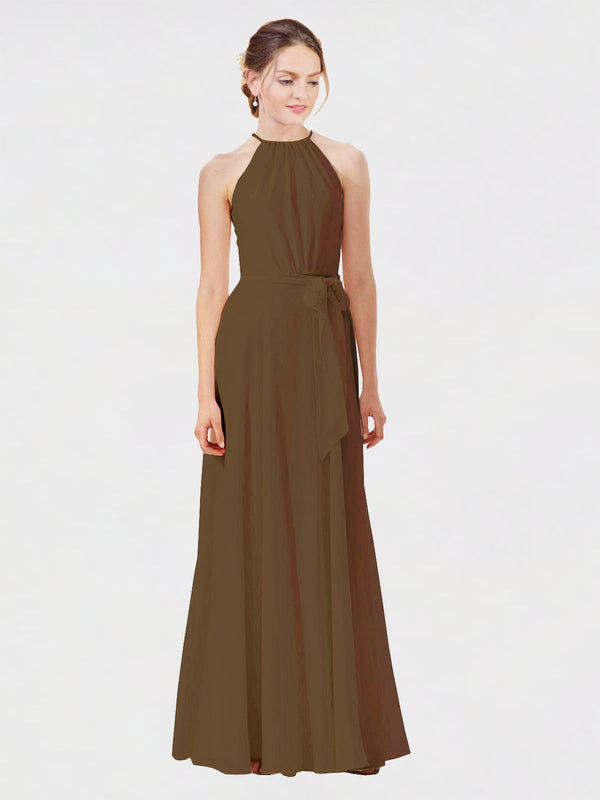Mila Queen Kendal Bridesmaid Dress Brown - A-Line High Neck Bateau Long Bridesmaid Gown Kendal in Brown