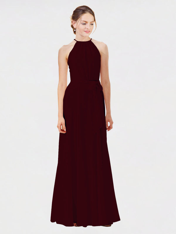 Mila Queen Kendal Bridesmaid Dress Burgundy Gold - A-Line High Neck Bateau Long Bridesmaid Gown Kendal in Burgundy Gold